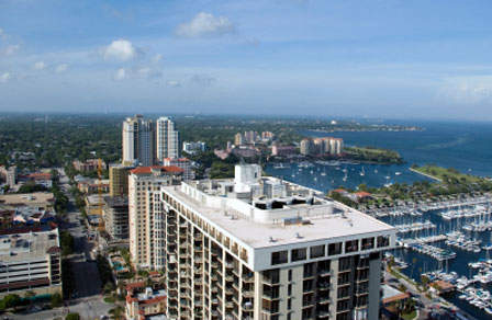 Aerial view overlooking St. Pete's marina